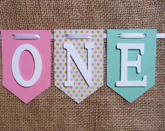 Pink One Banner, Pink High Chair Banner, Pink & Turquioise Happy 1st Birthday Banner, Girl Turquoise I am 1 Banner, Sprinkle Birthday Banner