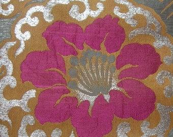 Vintage kimono/Obi/sash/silk fabric/embroidery/lily/pink/silver/yellow/material/handmade