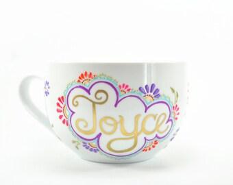 Custom Birthday Gift. Hand-Painted Mug. Henna Design. Boho. Colorful. Pattern. Tea Cup. Floral Painting.Pattern