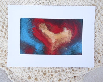 card Mother's Day Heart encaustic painting card original fine art card  heart