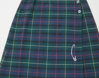 Plaid Wrap Skirt, Girl's Size 8, Buttoned Top, Silver Pin for Bottom, Vintage