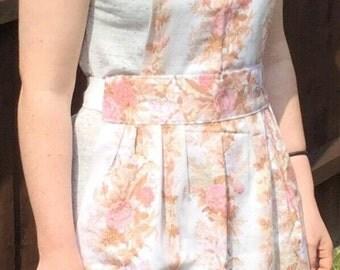 SALE - Retro pink & white floral apron