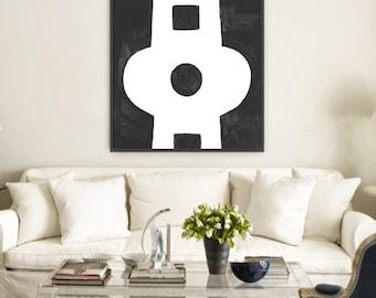 Circle Keyhole Modern Art Giclee Print - Abstract Charcoal 8x10, 16x20, 23x30, 32x40