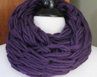 Deep Purple Infinity Knit Scarf