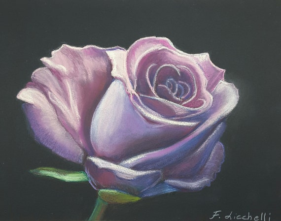 Pink rose, Copy of author, soft pastels and colored pencils on black paper, romantic gift for her, mom's birthday, home art, wall decoration