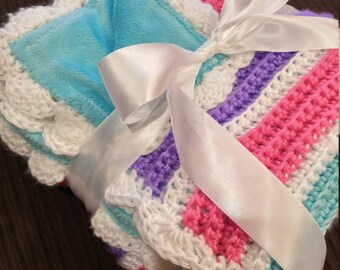 Crocheted Baby Afghan with Fabric