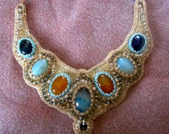 Beaded Necklace Golden Sky