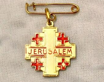 Jerusalem Relic Lapel Pin Medal, Religious Relic, Religious lapel Pin