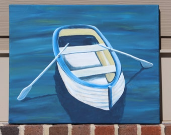 White Rowboat on Blue: Original Acrylic Painting on Stretched Canvas, 16x20 inches