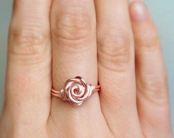 Rose Gold Rose Ring, Rose ring, Rose gold ring, Flower ring, Rosie, Gift, Wire ring, Rose wire ring, Rose gold wire ring, Ring