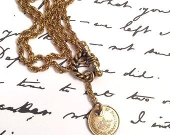 Pakistan Coin Necklace, gold, one pie piece