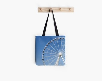 Summer Farmers Market Bag Tote Bag, Seattle Ferris Wheel Photo, Blue Market Bag, Travel Accessory, Vacation Gift, Reusable Bag, Market Tote