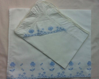 White and blue baby embroidered bedding set