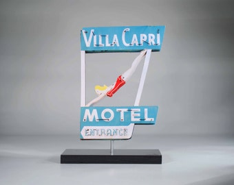 Villa Capri Motel Neon sign Photo / diving girl photo / beach decor / vintage motel sign / san diego / mid century decor / swimming pool art