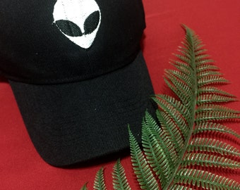 Embroidered Baseball Hat Cap Black Alien Patch ayy lmao Tumblr Aesthetic Hipster