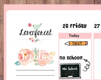 no school planner stickers, school planner stickers, hand drawn sticker, FL018
