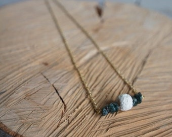 Essential Oil Diffusing Necklace with Green Aventurine and Lava Bead
