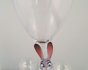 Disney hand painted personalised glass, Judy from Zootropolis