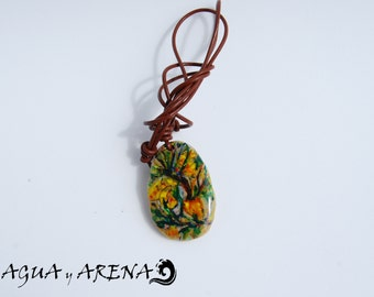 Sea Stone Necklace I Beach Stone Pendant. Pebble Necklace Handmade painted. Colorful and unique pendant design. Made with love in Spain