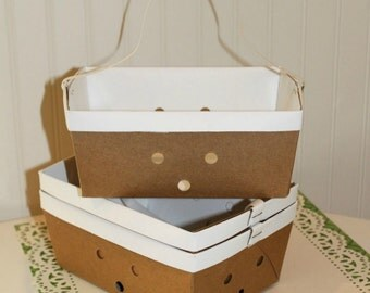 Paper Baskets, 6 Cardboard Lunch Basket Box with handle, Berry Baskets, Rustic Weddings, Cute Party Food Box, Picnic Basket, Lunch Box