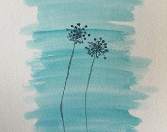 "Grey Dandelions - Original 9""x12"" Cool Watercolor Painting - Good Birthday Present"