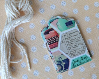 12 Retro style gift tags, birthdays, weddings, hostess gift...