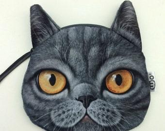 Gray Cat Zipper Pouch