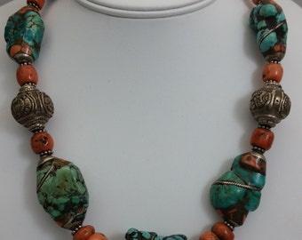Handmade Vintage Tibetan Turquoise Stone Necklace w/ Coral & Silver Inlay with Antique Mediterranean Coral and Tibetan Sterling Silver Beads