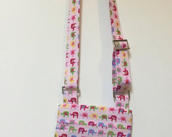 Pink elephant cross body bag with adjustable straps