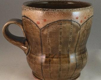 Amber Brown Stoneware Wheel Thrown Mug Line Inlay