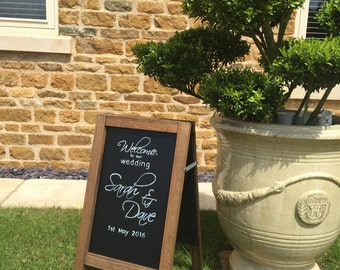 Bespoke Hand Drawn Wooden A-Frame Chalkboard / Blackboard welcome sign for wedding / party