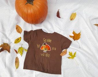 Gobble Til You Wobble Kid's Thanksgiving Tee