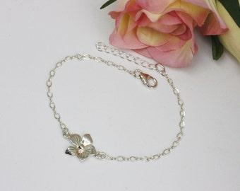 Silver Flower Chain Bracelet, Adjustable, Sterling Silver