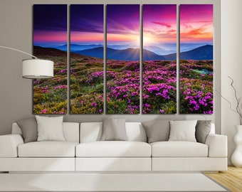 Canvas Art  Mountain Flowers Print Large Canvas Print Nature Stretched Canvas Interior Décor  Flowers Wall Art Gift for Home Decoration