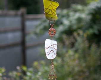 Wind Chime Sea Glass Copper Brass Outdoor All Weather Handcrafted Windchimes