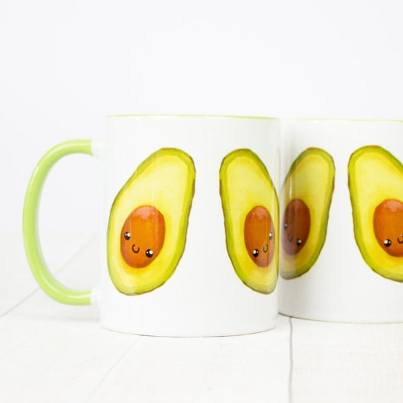 Happy avocado mug, cute little avocados on a mug, who loves avocados? i do, i do, i doooo! Cute green advocado mug