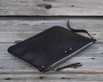 Small  Leather Portfolio / Handmade Leather Pouch / READY TO SHIP/ Small Zipper Bag / Leather Clutch / Tablet / Zipper Clutch / Feral Empire