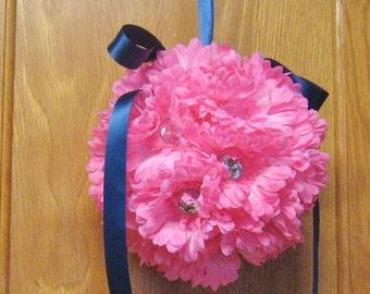 "7"" Gerber Daisy Rhinestone Kissing Ball,silk flower,centerpiece.pomander,custom,red,blue,lime,pink,flower girl,white,ivory,nursey,princess"
