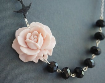 Beaded Necklace,Pink Flower Necklace,Pink Necklace,Black Necklace,Bridesmaid Gift,Bridesmaid Jewelry Set,Gothic Jewelry,Gift For Her,Gift