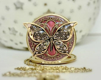 Memorial Necklace Remembrance Jewelry Memorial Locket Butterfly Locket Pink Locket Upcycled Vintage Locket Gift For Her Women's Locket