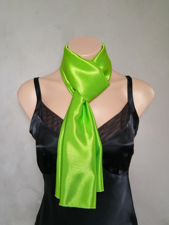 Lime Green Scarf Reversible Green Skinny Scarf Satin Green Scarf Daphne Costume Scarf Satin Lime Scarf Daphne Green Scarf Bright Green Scarf