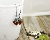 Black Cherry Petals, Sterling Silver and Glass roses in Dark Red, welded silversmith long dangle by Bellalili