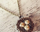 Customizable Vintage Style Wire Wrapped Bird Nest Antique Brass Silver Bead Egg Pendant Necklace Bird's Nest