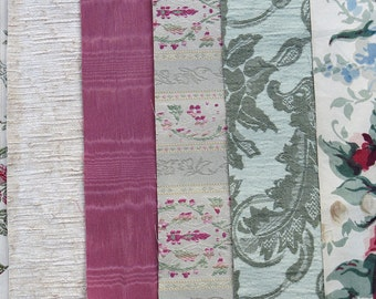 Rose Pink, Green Fabric Pack, Collection...DESTASH SALE, Closeout Clearance...6 home design samplers, remnants,scraps, texture variety-F1603