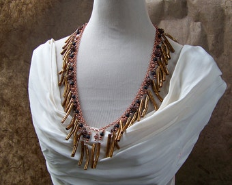 Long Bohemian Necklace   Natural Coral Branch Fringe Necklace on Pure Copper Chain   Gold Coral Jewelry   Boho Gypsy Necklace