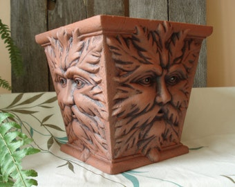 TerraCotta Green Man Planter 10 inches square and darker features