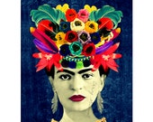 Frida Kahlo Frida Photo Frida Headdress Poster Instant Digital Download Mexican Style Frida Kahlo Image Best Selling Items All Sizes Blue