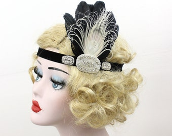 Black Feather Headband, Great Gatsby Headpiece, 1920s Flapper, Art Deco Hair Accessory, Ivory Peacock Feather Fascinator,