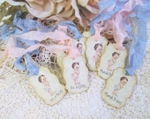 Baby Shower Tags Vintage Style Favor with ribbons - Set of 18 - Its a Boy or Girl - Baby Shower Sprinkle Baby Boy Girl