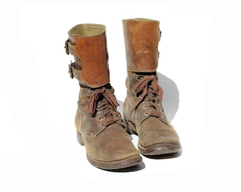 Vintage men's Brown Leather Boots / Wide Ankle Strap Combat Boots / size 9.5